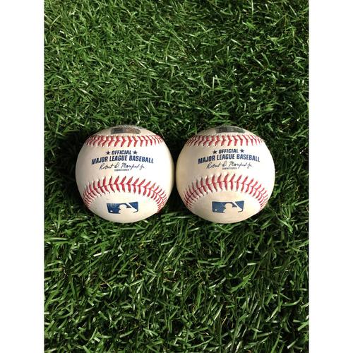 Photo of Game Used Baseball: Vladimir Guerrero Jr. line out and Cavan Biggio foul ball off Yonny Chirinos - May 27, 2019 v TOR