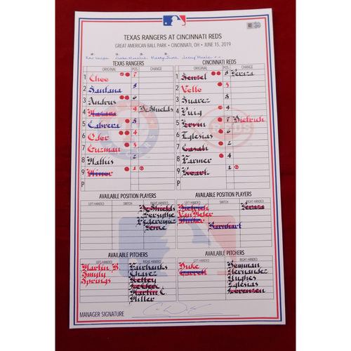 Photo of Game-Used Line-Up Card - Texas Rangers at Cincinnati Reds - 6/15/19
