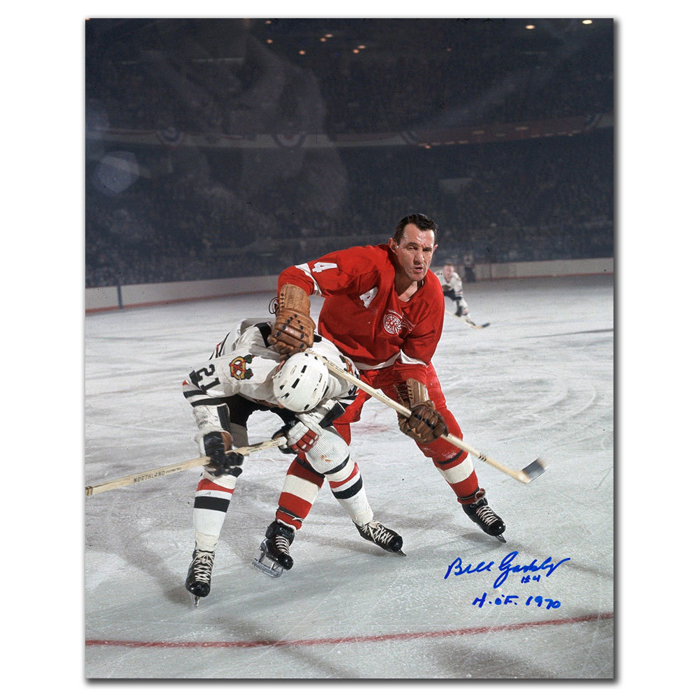 Bill Gadsby Detroit Red Wings vs. Mikita HOF Autographed 8x10