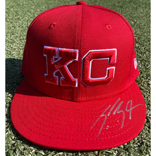 Photo of Autographed/Game-Used Monarchs Hat: Scott Barlow #58 (STL @ KC 9/22/20) - Size 7 1/4