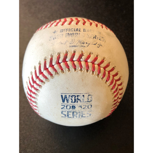 Photo of Game-Used Baseball - 2020 World Series - Tampa Bay Rays vs. Los Angeles Dodgers - Game 1 - Pitcher: Victor Gonzalez, Batters: Mike Brosseau (RBI Single), Kevin Kiermaier (RBI Single), Mike Zunino (Foul) - Top 7