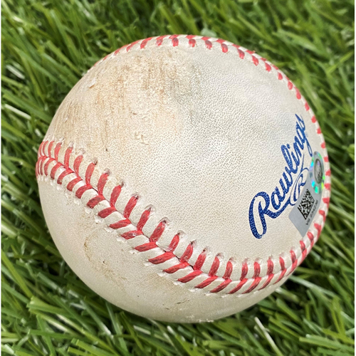 Photo of Max Scherzer Strikeout Baseball from 2021 Opening Day - 4/6/2021 vs. ATL