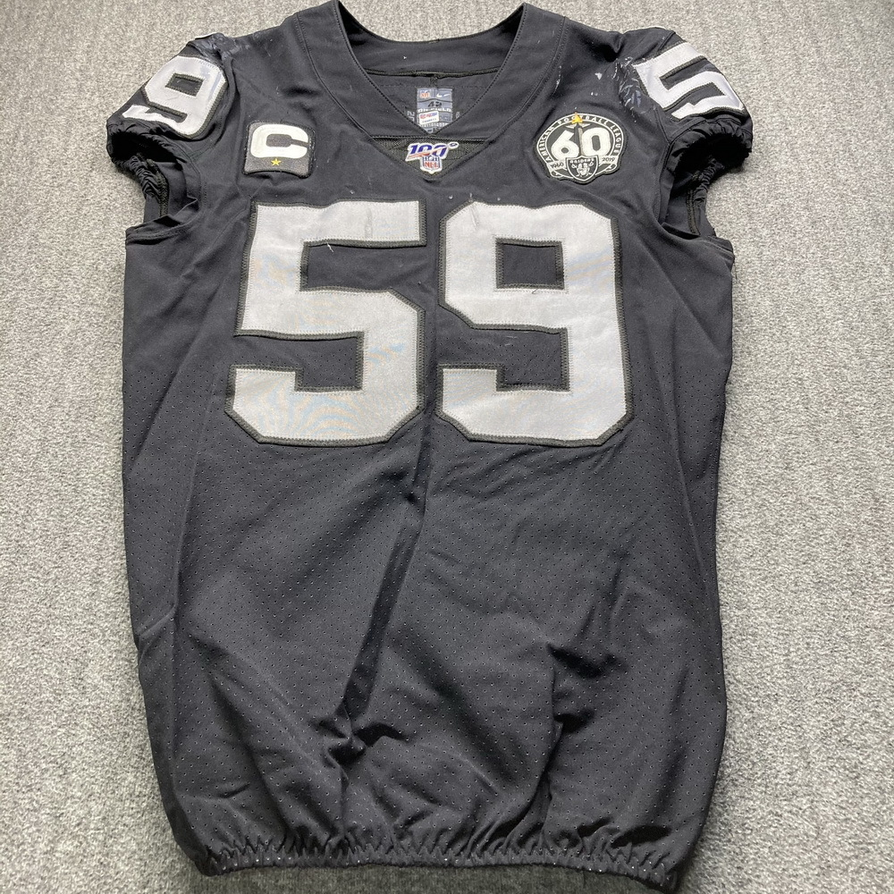 London Games - Raiders Tahir Whitehead Game Used Jersey (11/24/19) Size 42 W/ AFL Eternal Flame 60 Year Patch