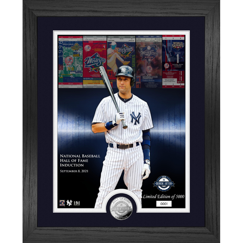 Photo of Derek Jeter HOF Induction WS Champ Silver Coin Photo Mint