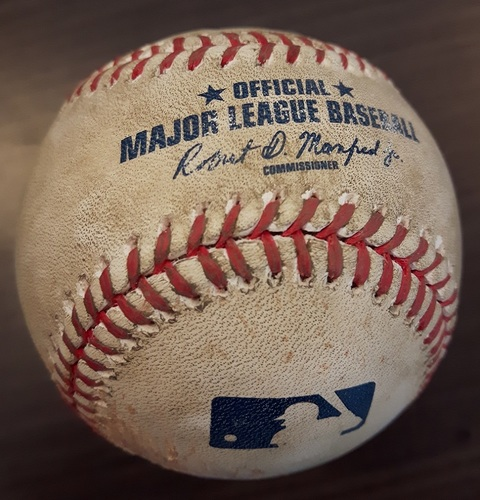 Photo of Authenticated Game Used Baseball - Double by Jonathan Lucroy against Mike Bolsinger. Top 3. (May 26, 2017).