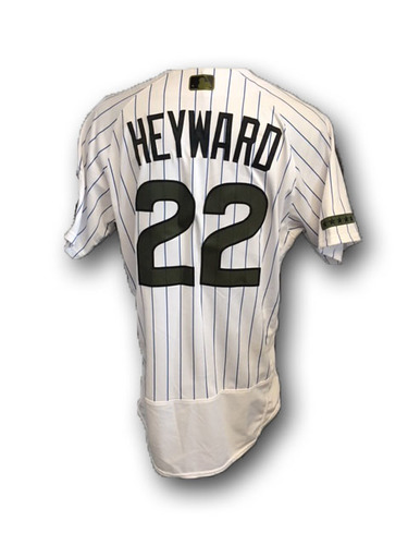 Photo of Jason Heyward Game-Used Memorial Day Jersey -- Giants vs. Cubs -- 5/27/18