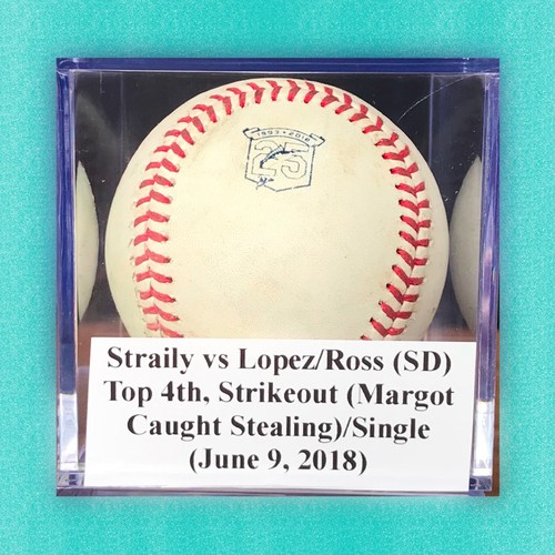 Photo of Game-Used Baseball: Straily vs Lopez/Ross (SD), Top 4th, Strikeout-Margot Caught Stealing/Single (June 9, 2018)