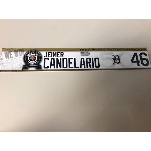 Photo of Game-Used 1968 World Series Champions 50th Anniversary Locker Name Plate: Jeimer Candelario
