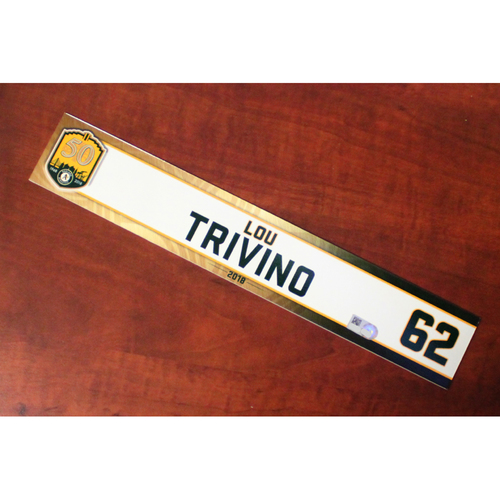 Photo of Lou Trivino 2018 Team-Issued Locker Nameplate