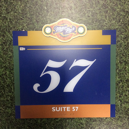 "Photo of Miller Park Team-Issued Sign - ""Suite 57"""