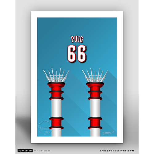 Photo of Minimalist Great American Ball Park Yasiel Puig Player Series Art Print by S. Preston - Limited Edition