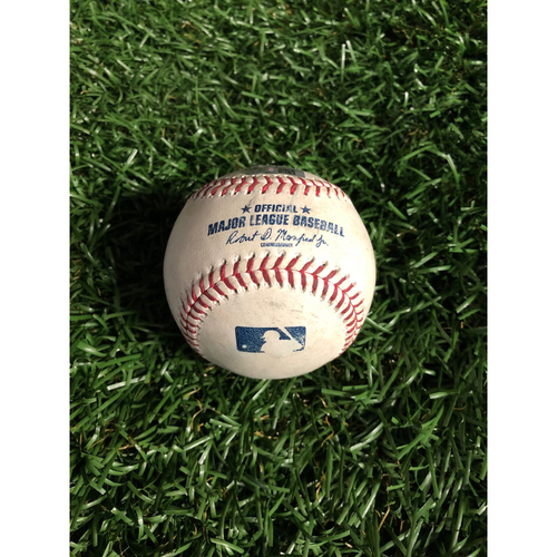 Photo of Game Used Baseball: Daniel Robertson single and Guillermo Heredia double off Clayton Kershaw. Willy Adames RBI single off Pedro Baez - May 21, 2019 v LAD