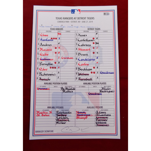 Photo of Game-Used Line-Up Card - Texas Rangers at Detroit Tigers - 6/27/19