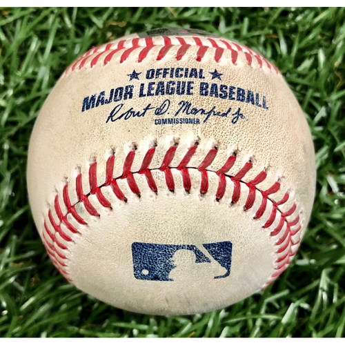 Photo of Game Used Baseball: Kevin Plawecki strikeout, Jackie Bradley Jr. strikeout and Yairo Munoz ground-rule double off Diego Castillo - September 12, 2020 v BOS