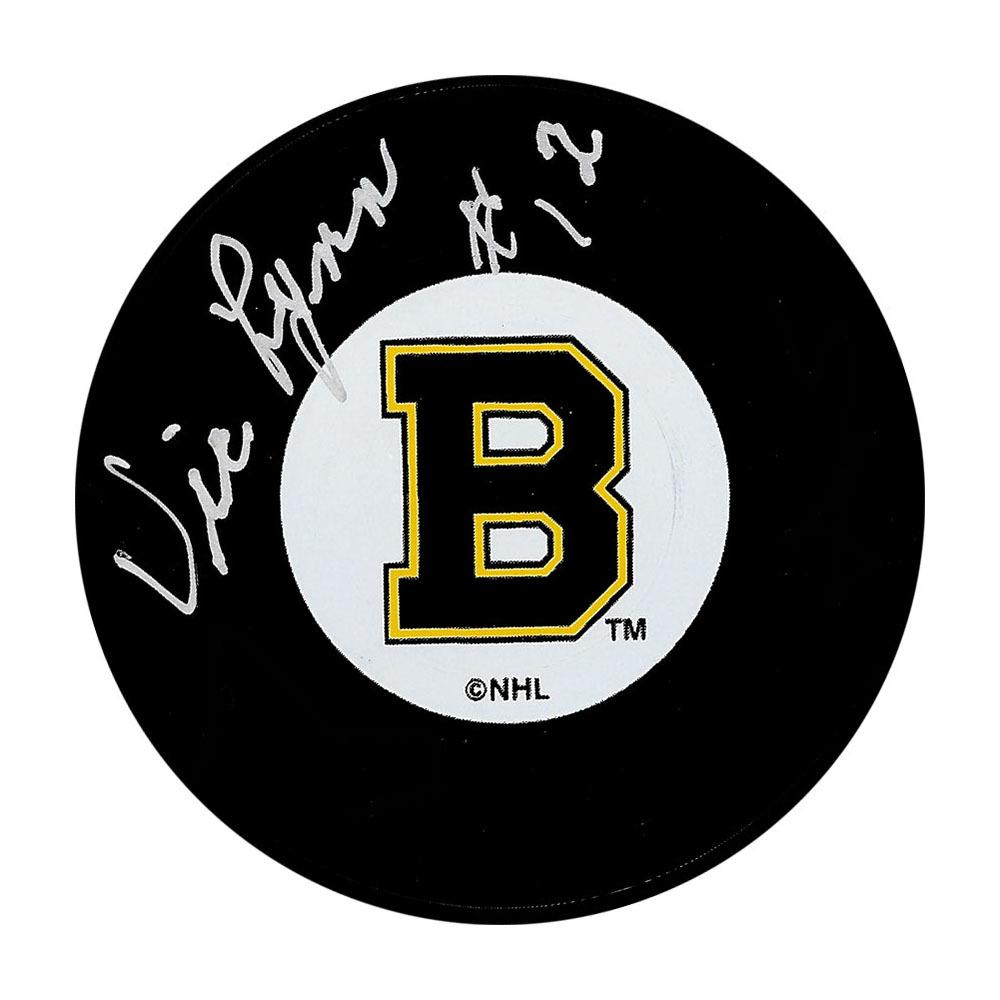 Vic Lynn Autographed Boston Bruins Puck