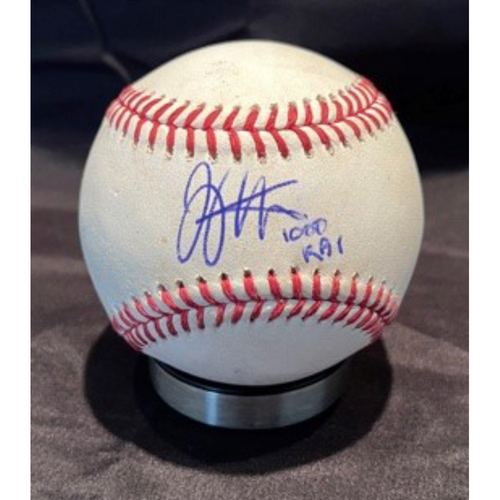 Photo of Joey Votto *Game-Used, Autographed & Inscribed* Baseball from 1,000th Career RBI Game - Joe Musgrove to Tucker Barnhart (Ball in Dirt) -- 06/30/2021 - SD vs. CIN - Bottom 1