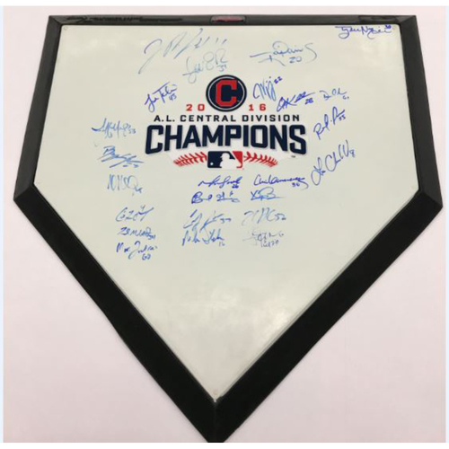 2016 AL Central Division Champions Autographed Home Plate, Signed by 24 Players (Kluber) - Not Authenticated by MLB