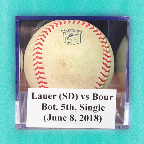 Photo of Game-Used Baseball: Lauer (SD) vs Bour, Bot. 5th, Single (June 8, 2018)