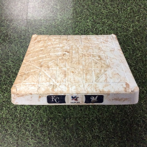 Photo of Game-Used 06/26/18 1st Base - KC@MIL - Yelich HR (11), Aguilar HR (17), & Braun HR (9)
