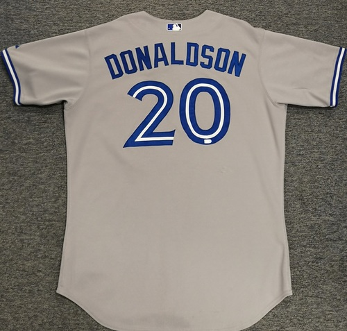 Photo of Authenticated Game Used Jersey - #20 Josh Donaldson (April 8, 2015: 0-for-3 with 1 Walk). MVP Season for Donaldson. Size 48.