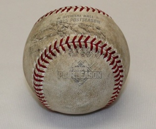 Photo of Authenticated Game Used Baseball - ALDS Game 1 (October 8, 2015 vs Texas Rangers). Foul Ball by Robinson Chirinos against Aaron Sanchez. Top 9.