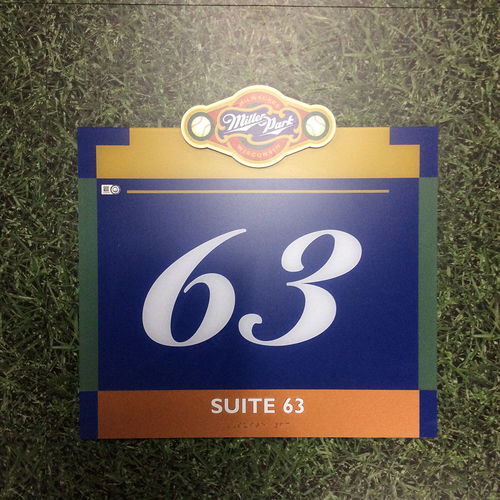 "Photo of Miller Park Team-Issued Sign - ""Suite 63"""