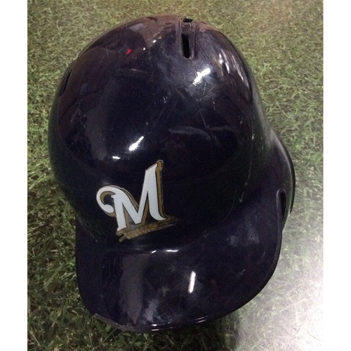 Photo of Orlando Arcia 2018 Game-Used Opening Day Batting Helmet - Go-Ahead, 12th Inning RBI Single