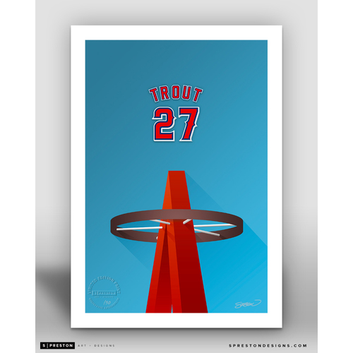 Photo of Minimalist Angel Stadium Mike Trout Player Series Art Print by S. Preston - Limited Edition