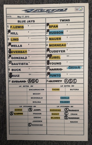 Photo of Authenticated Game Used Lineup Card - May 17, 2010 vs MIN: Justin Morneau with 2 HRs and 4 RBIs, 3 hits by Joe Mauer