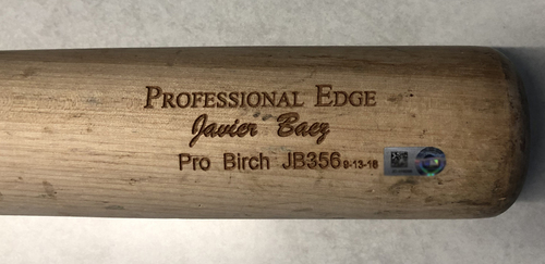 Photo of Javier Baez Game-Used Cracked Bat -- Ivan Nova to Javier Baez, Single, Top 1 -- Cubs at White Sox -- 7/7/19