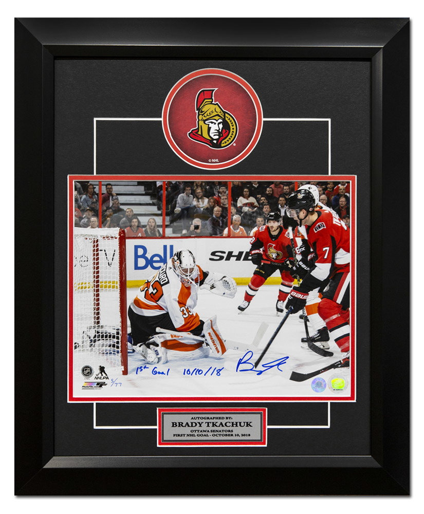 Brady Tkachuk Ottawa Senators Signed & Dated 1st NHL Goal 20x24 Frame #/77