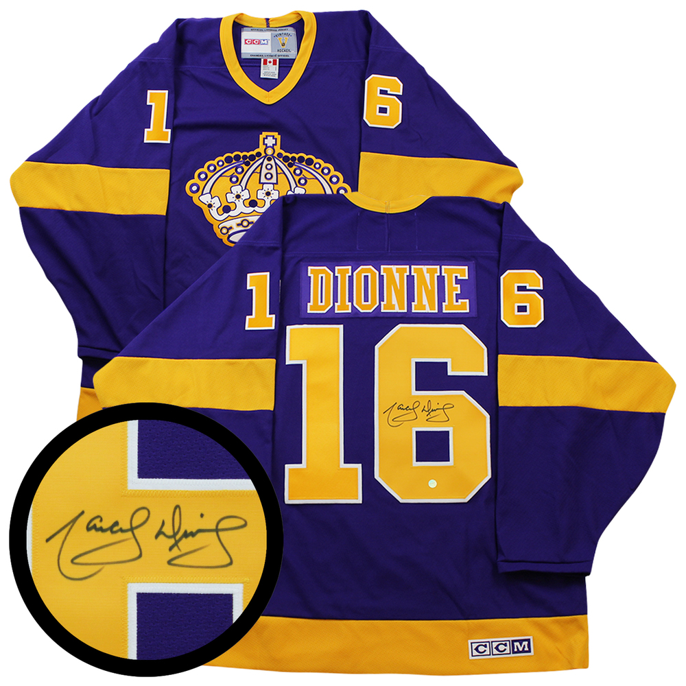 Dionne,M Signed Jersey Kings Replica Purple/Yellow Vintage CCM