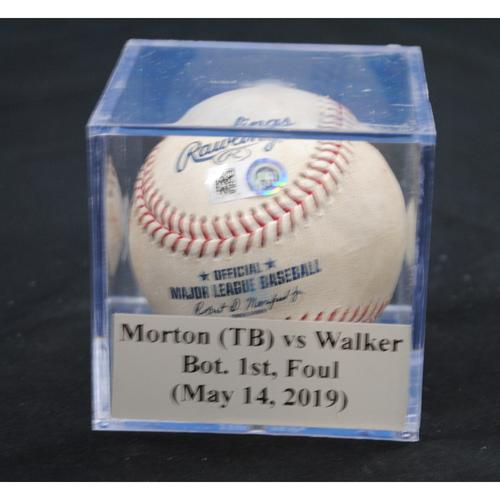 Photo of Game-Used Baseball: Charlie Morton (TB) vs Neil Walker, Bot. 1st, Foul (May 14, 2019)