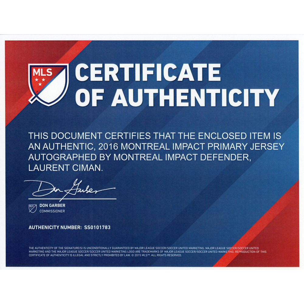 size 40 96574 d00b6 Laurent Ciman Montreal Impact Match-Used and Signed 2016 ...