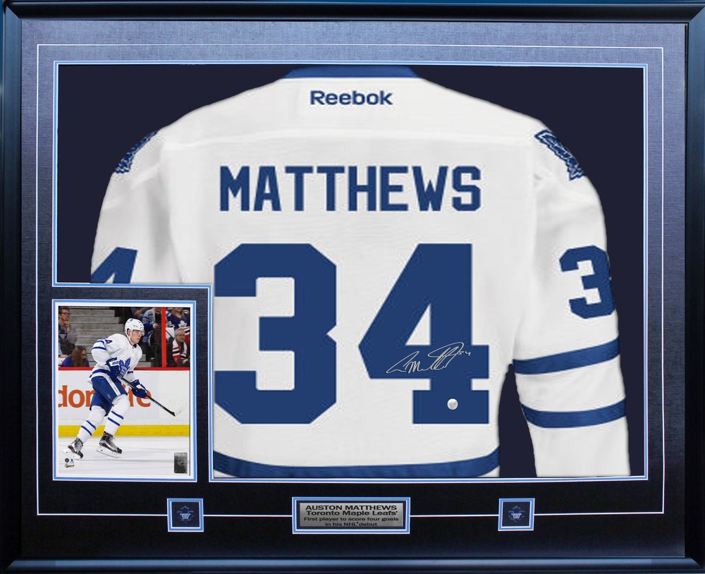 Auston Matthews Signed Jersey Framed Replica Reebok Leafs White
