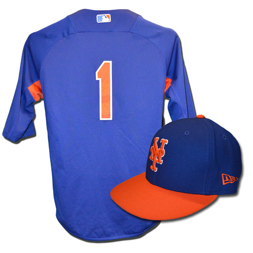 Amed Rosario #1 - Team Issued Blue Batting Practice Top and Hat Combination - 2017 Season