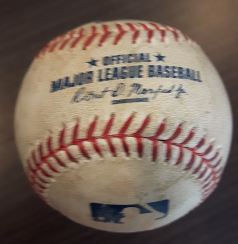 Photo of Authenticated Game Used Baseball - Double by Troy Tulowitzki against Adam Warren. Bottom 7. (June 2, 2017).