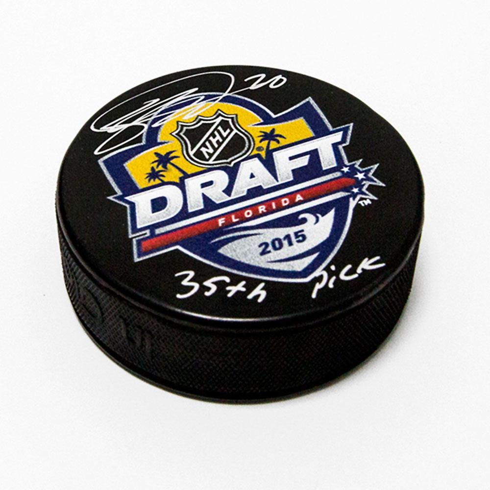 Sebastian Aho 2015 NHL Draft Autographed Hockey Puck with 35th Pick Note *Carolina Hurricanes*