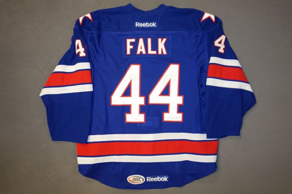 Justin Falk Game-Worn Rochester Americans Blue Jersey