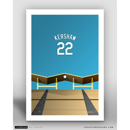 Photo of Minimalist Dodger Stadium Clayton Kershaw Player Series Art Print by S. Preston - Limited Edition