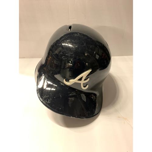 Photo of Freddie Freeman Game Used Postseason Road Navy Batting Helmet - Worn 10/6/19