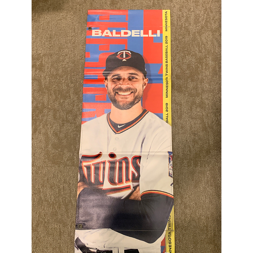 Photo of 2019 Minnesota Twins Team-Issued Street Banner - Rocco Baldelli