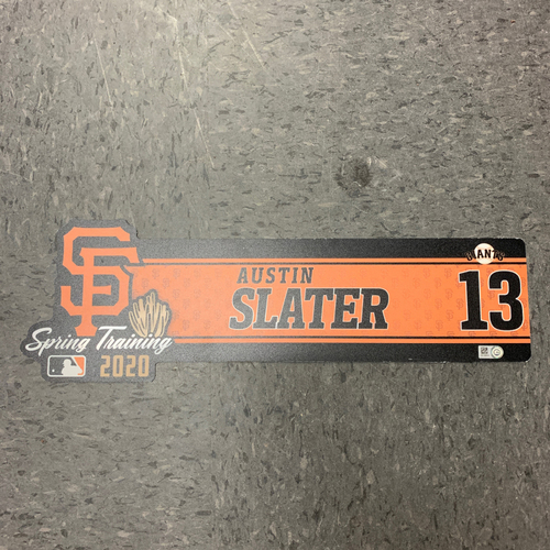 Photo of 2020 Team Issued Spring Training Locker Tag - #10 Austin Slater