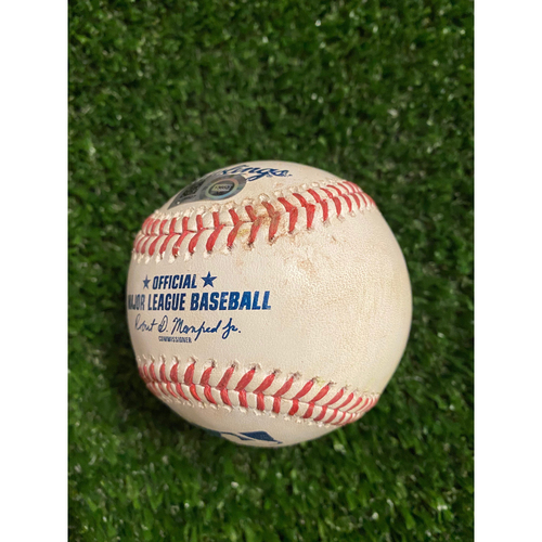 Photo of Aaron Judge Game Used Hit Single Baseball - August 26, 2020 (Game 2) - Pitcher: Max Fried