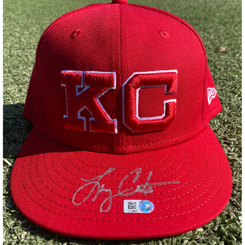 Photo of Autographed/Team-Issued Monarchs Hat: Larry Carter #34 (STL @ KC 9/22/20) - Size 7 3/4