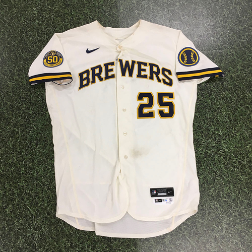 Photo of Brett Anderson 2020 Team-Issued Home Cream Jersey (Authenticated 08/24/20: 6.0+ IP, 5 H, 2 R, 2 ER, 1 BB, 3 SO, Win)