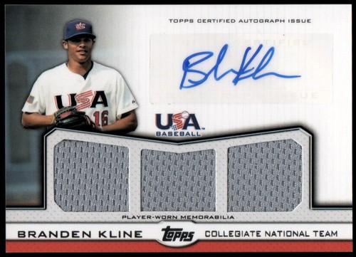 Photo of 2011 USA Baseball Triple Jersey Autographs #BK Branden Kline/214
