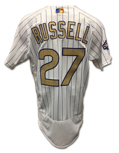 Addison Russell Ring Ceremony Game-Used Gold Jersey -- Dodgers vs. Cubs -- 4/12/17