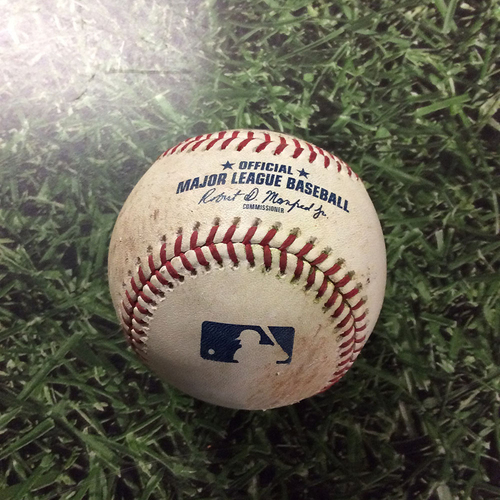 Photo of Game-Used Baseball MIN@MIL  07/04/18 - Jose Berrios - Travis Shaw: Single