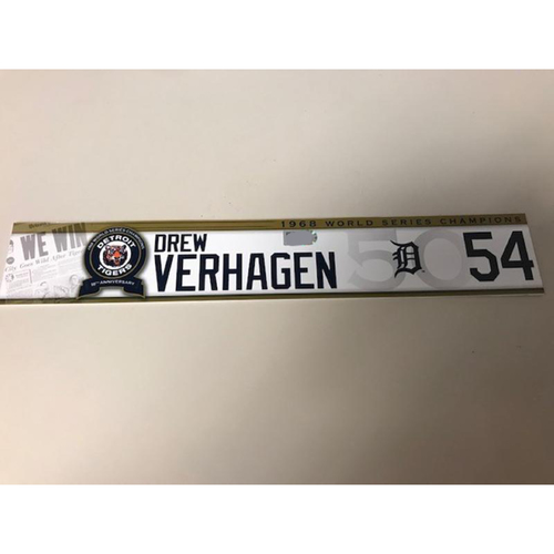 Photo of Game-Used 1968 World Series Champions 50th Anniversary Locker Name Plate: Drew VerHagen